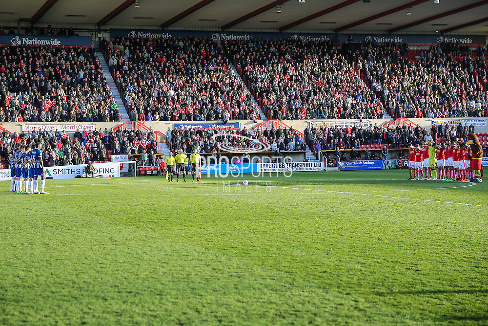 Minutes silence for the Brussels attacks during the Sky Bet League 1 match between Swindon Town and Wigan Athletic at the County Ground, Swindon, England on 25 March 2016. Photo by Shane Healey.