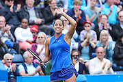 Madison Keys waves to the crowd at the end of the match during the Aegon Classic at Edgbaston Priory Club, Birmingham, United Kingdom on 19 June 2016. Photo by Shane Healey.