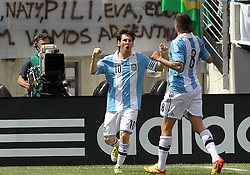 JUNE 09 2012:   Lionel Messi (10) of Argentina with Jose Sosa (8) after scoring his second goal against Brazil during an international friendly match at Metlife Stadium in East Rutherford,New Jersey. Argentina won 4-3.