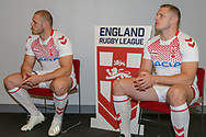 Thomas &amp; George Burgess during the official launch of the England Rugby League Remembrance Shirt at Imperial War Museum North, Trafford Park, Manchester<br /> Picture by Steve McCormick/Focus Images Ltd 07545 862647<br /> 15/10/2018