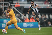 Isaac Hayden (Newcastle United) takes a shot during the EFL Cup 4th round match between Newcastle United and Preston North End at St. James's Park, Newcastle, England on 25 October 2016. Photo by Mark P Doherty.