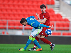 ST HELENS, ENGLAND - Monday, December 10, 2018: Liverpool's Neco Williams (R) and Napoli's Antonio Marino during the UEFA Youth League Group C match between Liverpool FC and SSC Napoli at Langtree Park. (Pic by David Rawcliffe/Propaganda)
