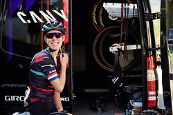 Hannah Barnes (GBR) ahead of Stage 5 of 2019 Giro Rosa Iccrea, a 88.8 km road race from Ponte in Valtellina to Lago di Cancano, Italy on July 9, 2019. Photo by Sean Robinson/velofocus.com