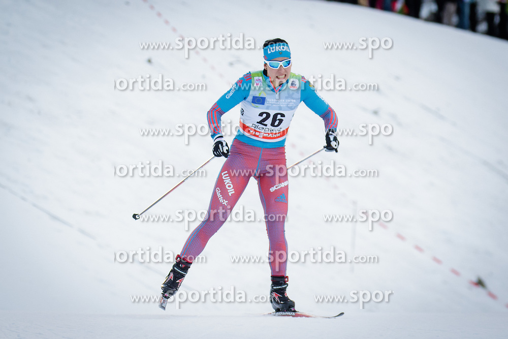 Polina Kovaleva (RUS) during Ladies 1.2 km Free Sprint Qualification race at FIS Cross<br /> Country World Cup Planica 2016, on January 16, 2016 at Planica,Slovenia. Photo by Ziga Zupan / Sportida