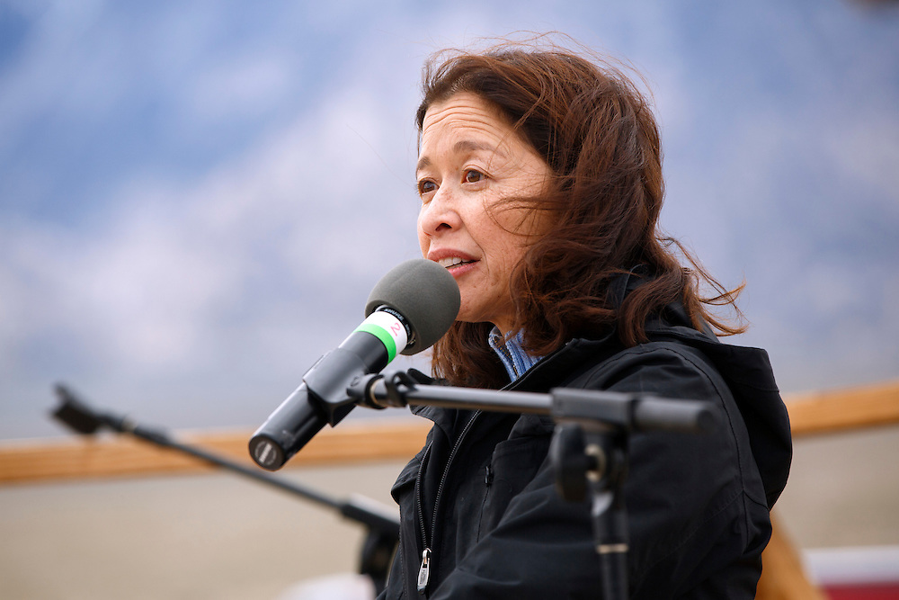 Dr. Cathy Irwin speaks at the Manzanar National Historic Site during the 47th Annual Manzanar Pilgrimage on Saturday, April 30, 2016 in the Owens Valley of Inyo County, Calif. Now a National Historic Site, the Manzanar War Relocation Center was one of ten camps where Japanese American citizens and resident Japanese aliens were interned during World War II. Photo by Patrick T. Fallon / Special to the National Parks Conservation Association
