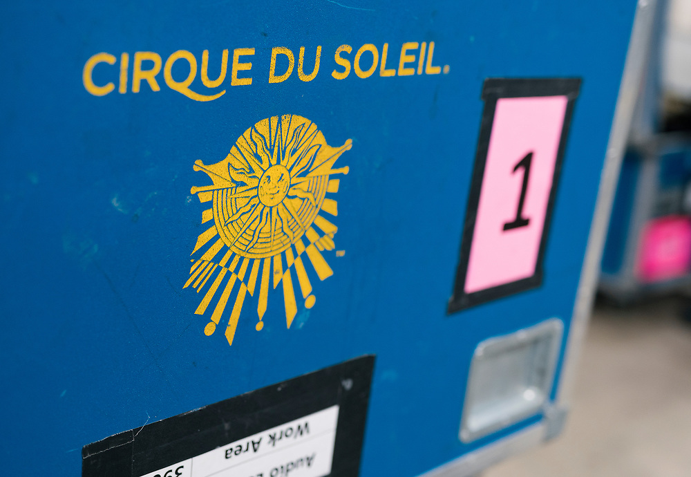 "Large crates of equipment for ""Cirque du Soleil: CRYSTAL"" are seen backstage at the Alliant Energy Center in Madison, WI on Wednesday, May 1, 2019."