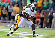 September 24, 2011: Louisiana Monroe Warhawks wide receiver Tavarese Maye (8) is hit by Iowa Hawkeyes defensive back Shaun Prater (28) after a catch during the first quarter of the game between the Iowa Hawkeyes and the Louisiana Monroe Warhawks at Kinnick Stadium in Iowa City, Iowa on Saturday, September 24, 2011. Iowa defeated Louisiana Monroe 45-17.
