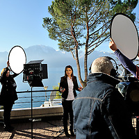 Geneva 2 Syria talks, taking place in Montreux, at the Montreux Palace Hotel. Syrian TV journalist (pro-regime) doing a live broadacast by Lake Geneva.