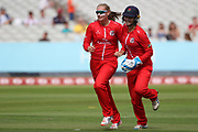 Lancashire Thunders Sophie Ecclestone congratulated by Lancashire Thunders Ellie Threlkeld (Wicket Keeper) during the Women's Cricket Super League match between Lancashire Thunder and Surrey Stars at the Emirates, Old Trafford, Manchester, United Kingdom on 7 August 2018.