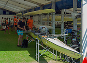 "Henley on Thames, United Kingdom, 29th June 2018, Friday, ""Henley Royal Regatta"", Qualifying races, [Time Trails] London Rowing Clug Rig and prepare their boat for thr race, over the, Regatta Course, Henley Reach, River Thames, Thames Valley, England, © Peter SPURRIER, 29/06/2018"