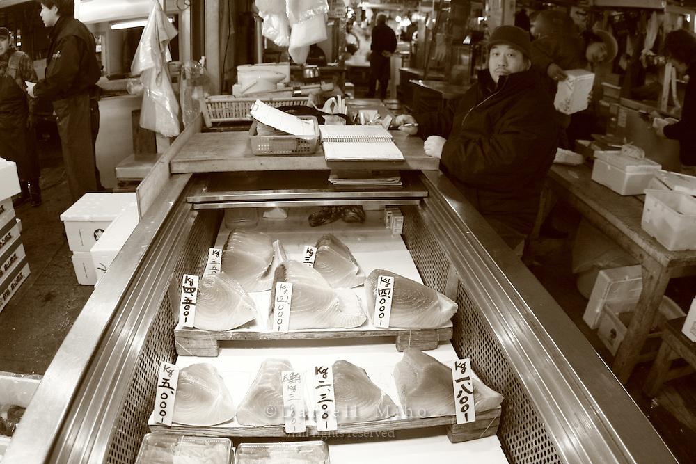 Mar 4, 2006; Tokyo, JPN; Tsukiji.Raw tuna on sale at the Tsukiji Fish Market...Photo credit: Darrell Miho