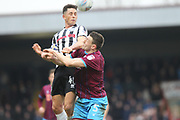 Ian Henderson wins a header during the EFL Sky Bet League 1 match between Scunthorpe United and Rochdale at Glanford Park, Scunthorpe, England on 24 March 2018. Picture by Daniel Youngs.