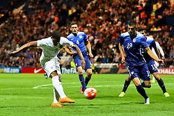 Jordon Ibe of England U21 fires a shot at goal  - Mandatory byline: Matt McNulty/JMP - 07966386802 - 03/09/2015 - FOOTBALL - Deepdale Stadium -Preston,England - England U21 v USA U23 - U21 International