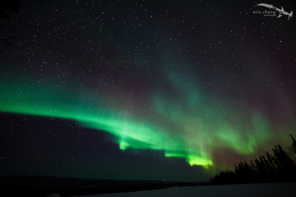 One frame from a timelapse video of the northern lights (aurora borealis) just outside of Fairbanks, Alaska. March 22-23, 2012. Canon 5D Mark II, Canon EF 14mm f/2.8L II USM lens, 15 sec at f/2.8, ISO 1600.