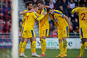 Goal Crystal Palace celebrate as Crystal Palace midfielder Max Meyer (7) scores a goal from a header just before half tme 0-2 during the The FA Cup 5th round match between Doncaster Rovers and Crystal Palace at the Keepmoat Stadium, Doncaster, England on 17 February 2019.