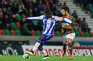 Portugal, FUNCHAL : Porto's Colombian forward Jackson Martinez (L)  vies with Maritimo's Portuguese midfielder Fernando Ferreira (R ) during Portuguese League football match Maritimo vs F.C. Porto at Barreiros Stadium in Funchal on January  25, 2015. PHOTO/ GREGORIO CUNHA