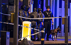© Licensed to London News Pictures. 03/06/2017. London, UK. Armed police and a police dog handler near London Bridge after reports of an incident involving a vehicle and pedestrians.  Reports are saying a white transit van may have deliberately run down people crossing the bridge. Photo credit: Ben Cawthra/LNP