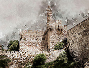 Digitally enhanced image of David's Tower in the old city of Jerusalem, Israel