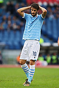 Luis Alberto of Lazio reacts during the Italian championship Serie A football match between SS Lazio and US Lecce Sunday, Nov. 10, 2019 at the Stadio Olimpico in Rome. SS Lazio defeated US Lecce 4-2. (Federico Proietti/Image of Sport)