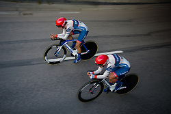 Joëlle Numainville takes the lead for Cervélo Bigla as they approach 500 metres to go at the 42,5 km team time trial of the UCI Women's World Tour's 2016 Crescent Vårgårda Team Time Trial on August 19, 2016 in Vårgårda, Sweden. (Photo by Sean Robinson/Velofocus)