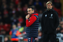 Swansea City caretaker manager Leon Britton reacts ahead of Liverpool manager Jurgen Klopp - Mandatory by-line: Matt McNulty/JMP - 26/12/2017 - FOOTBALL - Anfield - Liverpool, England - Liverpool v Swansea City - Premier League