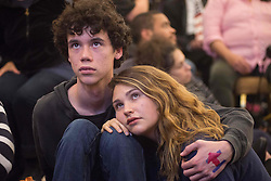 November 9, 2016 - Two young Hillary Clinton supporters watch intently as results roll in, during an election night watch party, Austin Texas (Credit Image: © Sandy Carson via ZUMA Wire)