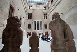Interior of Greek courtyard at Neues Museum or New Museum on Museumsinsel or Museum Island in Berlin