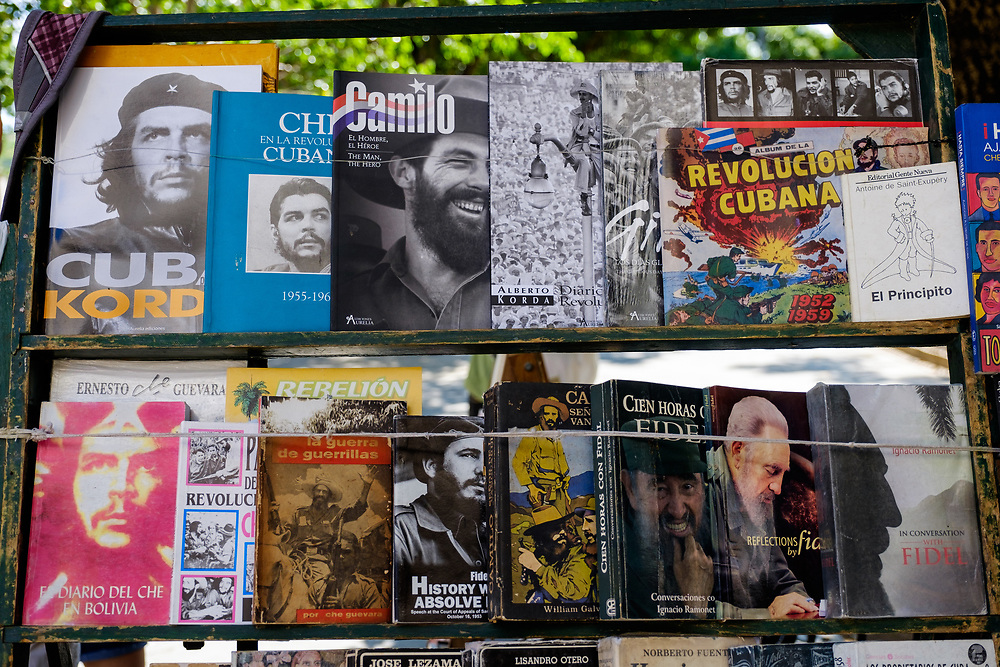 HAVANA, CUBA - CIRCA MAY 2016:  Newstand selling  old books in the streets of Havana