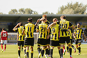 Burton Albion celebrate their opening goal during the Sky Bet League 1 match between Burton Albion and Coventry City at the Pirelli Stadium, Burton upon Trent, England on 6 September 2015. Photo by Simon Davies.
