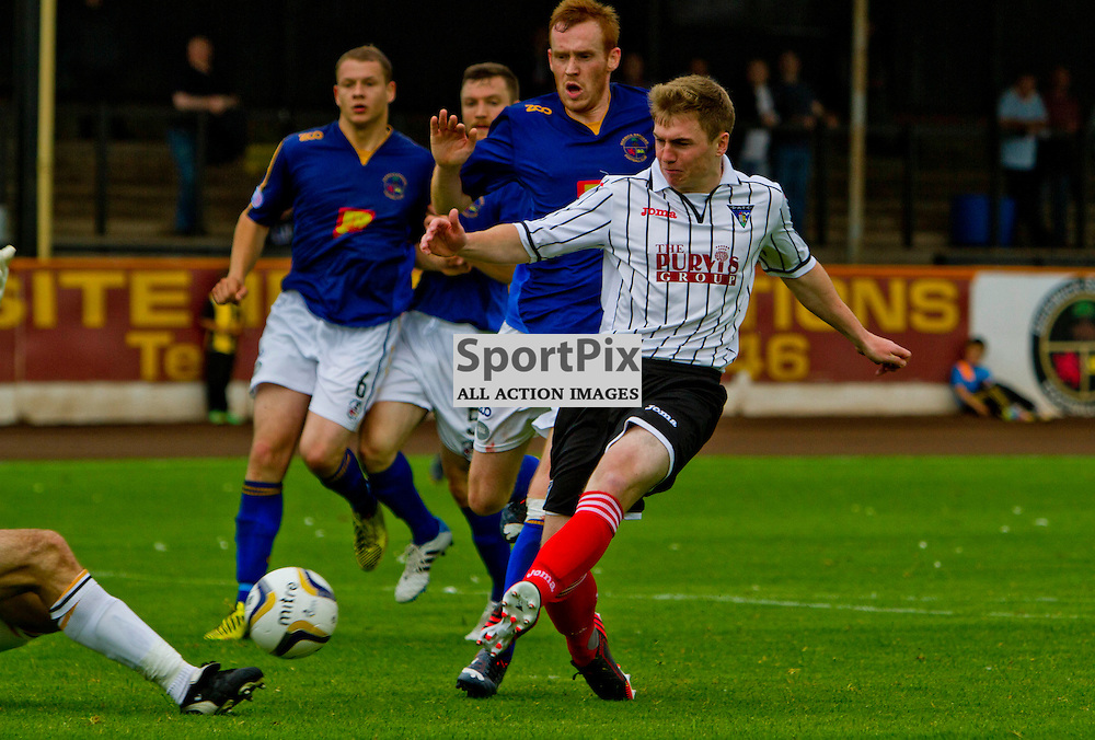 Berwick Rangers v Dunfermline Athletic Pre Season friendly Shielfield Park 19 July 2014<br /> Allan Smiths shot is saved<br /> <br /> CRAIG BROWN | sportPix.org.uk