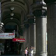 South America, Uruguay, Canelones, Montevideo, downtown, light on columns, Palacio Salvo, Avenida 18 de Julio, Plaza de la Independencia, Independence.