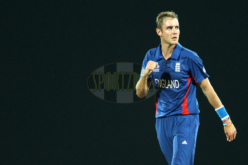 Stuart Broad (Captain) of England celebrates the wicket of Jeewan Mendis during the ICC World Twenty20 Super Eights match between England and Sri Lanka held at the  Pallekele Stadium in Kandy, Sri Lanka on the 1st October 2012..Photo by Ron Gaunt/SPORTZPICS