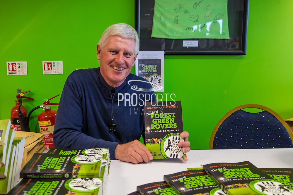 Chris Gardner with his new book during the Vanarama National League match between Forest Green Rovers and Guiseley  at the New Lawn, Forest Green, United Kingdom on 22 October 2016. Photo by Shane Healey.