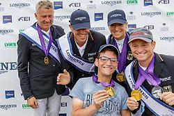 Team Deutschland<br /> Luhmühlen - LONGINES FEI Eventing European Championships 2019<br /> DIBOWSKI ANDREAS (GER), RÜDER Kai (GER), KLIMKE Ingrid (GER), JUNG Michael (GER),<br /> Siegerehrung Europameisterschaft Team Finale / Mannschaftsentscheidung<br /> 01. September 2019<br /> © www.sportfotos-lafrentz.de/Stefan Lafrentz