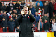 Brentford Manager / Head Coach Dean Smith during the EFL Sky Bet Championship match between Brentford and Birmingham City at Griffin Park, London, England on 26 November 2016. Photo by Andy Walter.