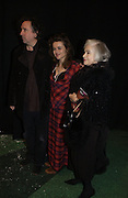 """TIM BURTON, HELENA BONHAM-CARTER AND HER MOTHER  Elene Proper De Callejon . World Premiere of the theatrical production of """"Edward Scissorhands"""" at Sadler's Wells Theatre in London. 30 November 2005. ONE TIME USE ONLY - DO NOT ARCHIVE  © Copyright Photograph by Dafydd Jones 66 Stockwell Park Rd. London SW9 0DA Tel 020 7733 0108 www.dafjones.com"""