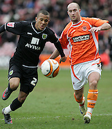 Blackpool - Saturday March 7th, 2009: Danny Coid of Blackpool and Ryan Bertrand of Norwich City in action during the Coca Cola Championship match at Bloomfield Road, Blackpool. (Pic by Michael Sedgwick/Focus Images)