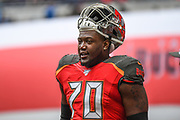 Tampa Bay Buccaneers Offensive Linesman Jerald Hawkins (70) during the International Series match between Tampa Bay Buccaneers and Carolina Panthers at Tottenham Hotspur Stadium, London, United Kingdom on 13 October 2019.