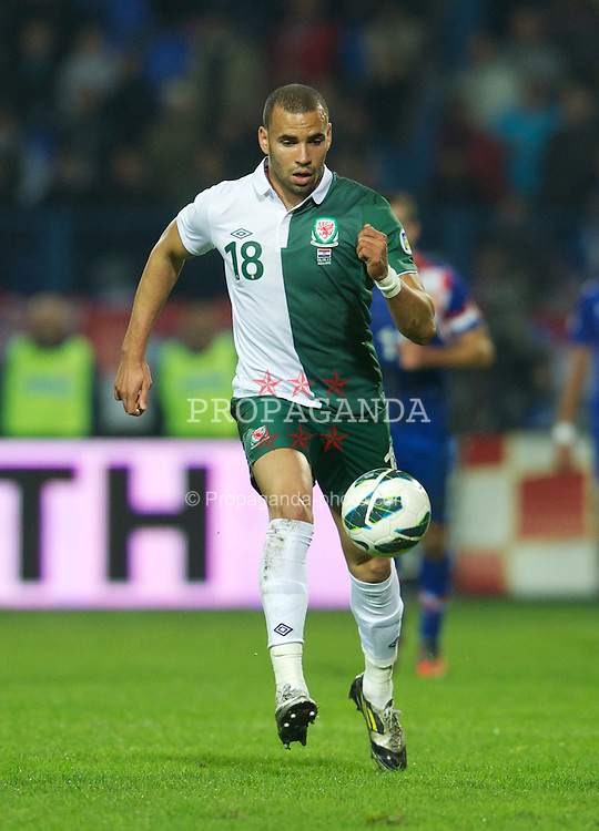 OSIJEK, CROATIA - Tuesday, October 16, 2012: Wales' Hal Robson-Kanu in action against Croatia during the Brazil 2014 FIFA World Cup Qualifying Group A match at the Stadion Gradski Vrt. (Pic by David Rawcliffe/Propaganda)