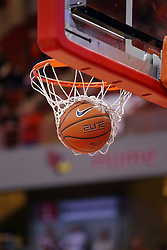 03 December 2016:  basketball falls through the hoop during an NCAA  mens basketball game between the New Mexico Lobos the Illinois State Redbirds in a non-conference game at Redbird Arena, Normal IL