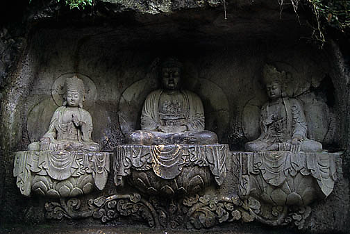 China, Religion, Buddhas at Temple of General Yue Fei and Monastery of Hidden souls in Hangzhou.