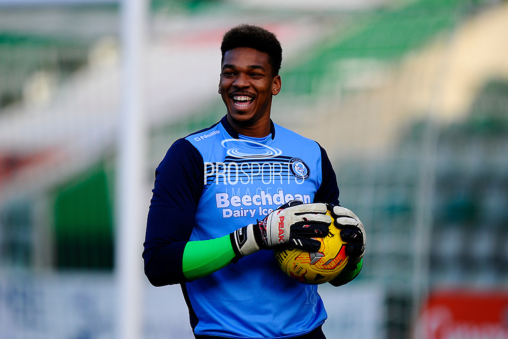 Jamal Blackman (27) of Wycombe Wanderers warming up before the EFL Sky Bet League 2 match between Plymouth Argyle and Wycombe Wanderers at Home Park, Plymouth, England on 26 December 2016. Photo by Graham Hunt.