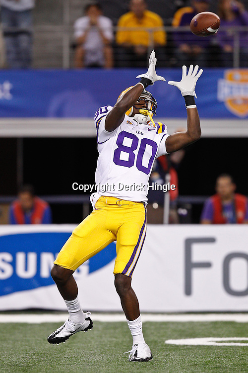Jan 7, 2011; Arlington, TX, USA; LSU Tigers wide receiver Terrence Toliver (80) during warm ups prior to kickoff of the 2011 Cotton Bowl against the Texas A&M Aggies at Cowboys Stadium. LSU defeated Texas A&M 41-24.  Mandatory Credit: Derick E. Hingle
