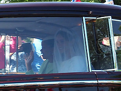 Meghan Markle is seen with her mum Doria in the back of a chauffeur driven vintage Rolls Royce on her way to marry Prince Harry.<br /><br />19 May 2018.<br /><br />Please byline: Vantagenews.com