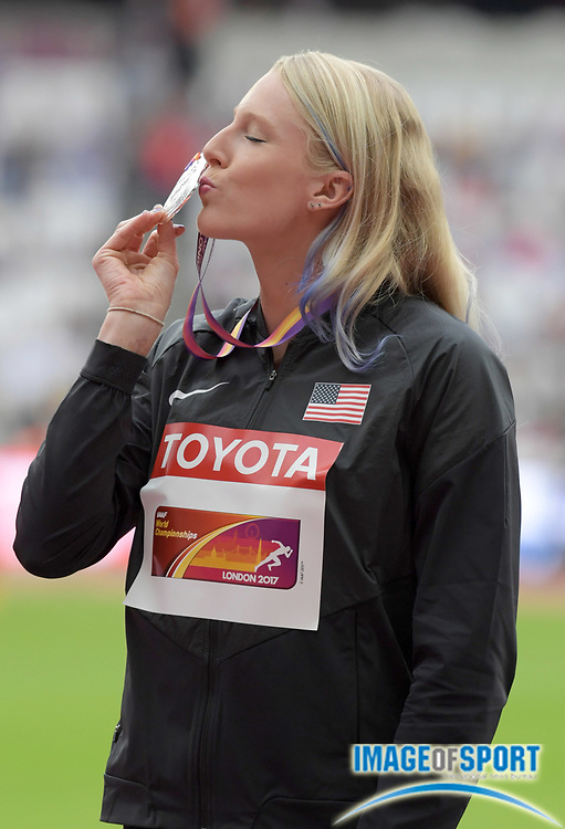 Aug 7, 2017; London, United Kingdom; Sandi Morris (USA) poses with silver medal during the women's pole vault medal ceremony the IAAF World Championships in Athletics at London Stadium at Queen Elizabeth Park.