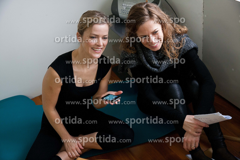 Ziva Rogelj, journalist at Planet TV and Petra Rot Kumelj of TSmedia during Gyrotonic Exercise Demonstration and Explanation on January 17, 2013 in GYROTONIC studio Ljubljana, Wolfova 1, Slovenia. (Photo by Vid Ponikvar / Sportida.com)