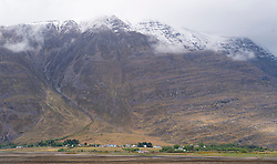 Village of  Torridon and Liathach mountain on  the North Coast 500 scenic driving route in northern Scotland, UK
