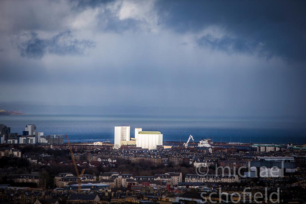 The area of Leith, Edinburgh as seen from the Edinburgh Castle Esplanade.