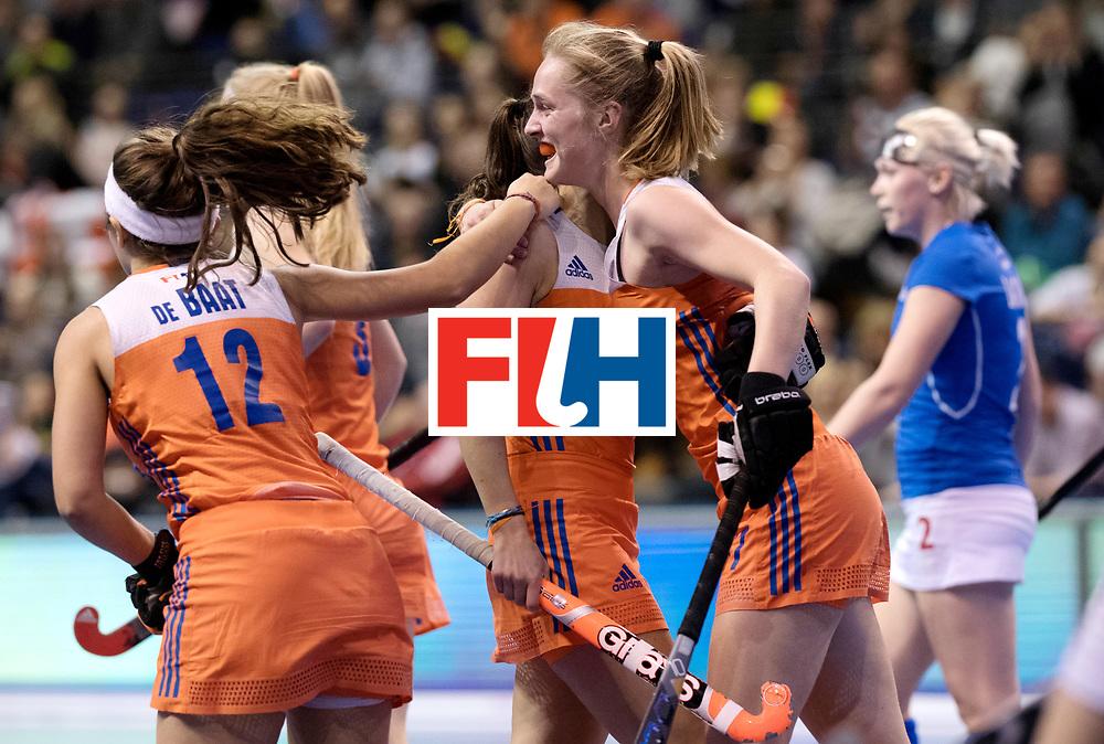 BERLIN - Indoor Hockey World Cup<br /> Quarterfinal 4: Netherlands - Czech Republic<br /> foto: Netherlands celebrate. Elin van Erk.<br /> WORLDSPORTPICS COPYRIGHT FRANK UIJLENBROEK