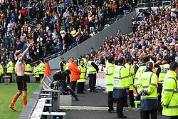 Hull City's Paul McShane throws his shirt to the fans - Photo mandatory by-line: Matt McNulty/JMP - Mobile: 07966 386802 - 24/05/2015 - SPORT - Football - Hull - KC Stadium - Hull City v Manchester United - Barclays Premier League